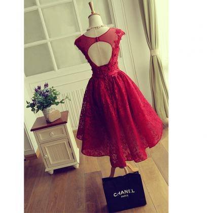 453c52bd9835 ... dress,Short Lace Prom Dress,Red Cocktail Dress,. Keyhole Back Red Lace  Bridesmaid d.
