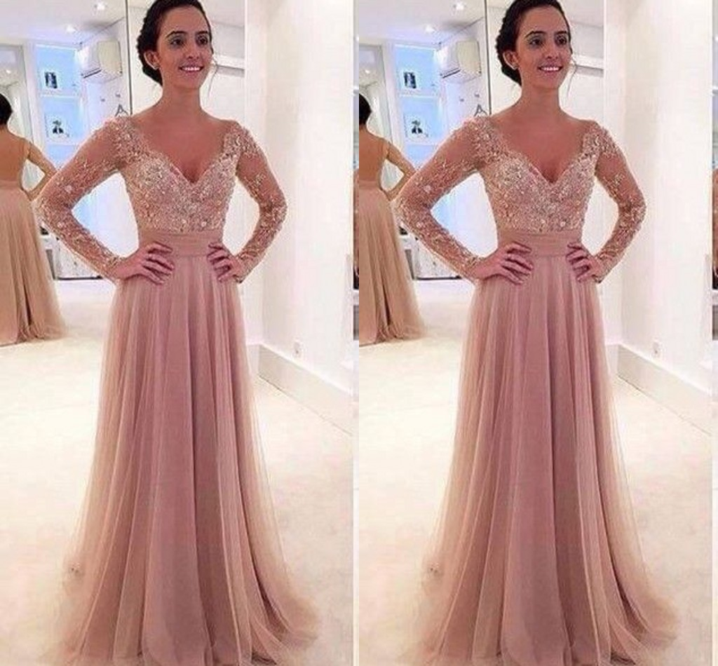 e334ca52d86 Long Sleeves Lace Prom Dress