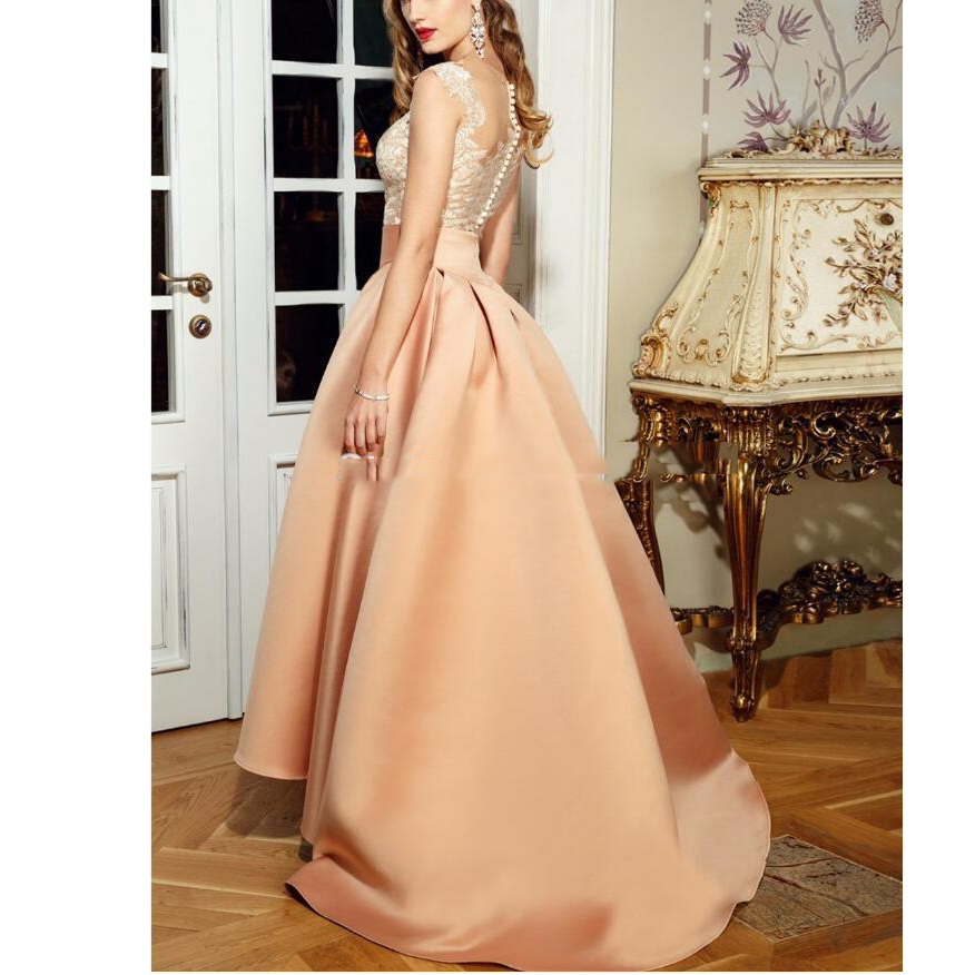 High Quality Elegant Prom Dresses,High Low Evening Dress ,New With Appliques Prom Dress, Lace Long Sheer Back Robe De Soiree, A-Line vestido de festa