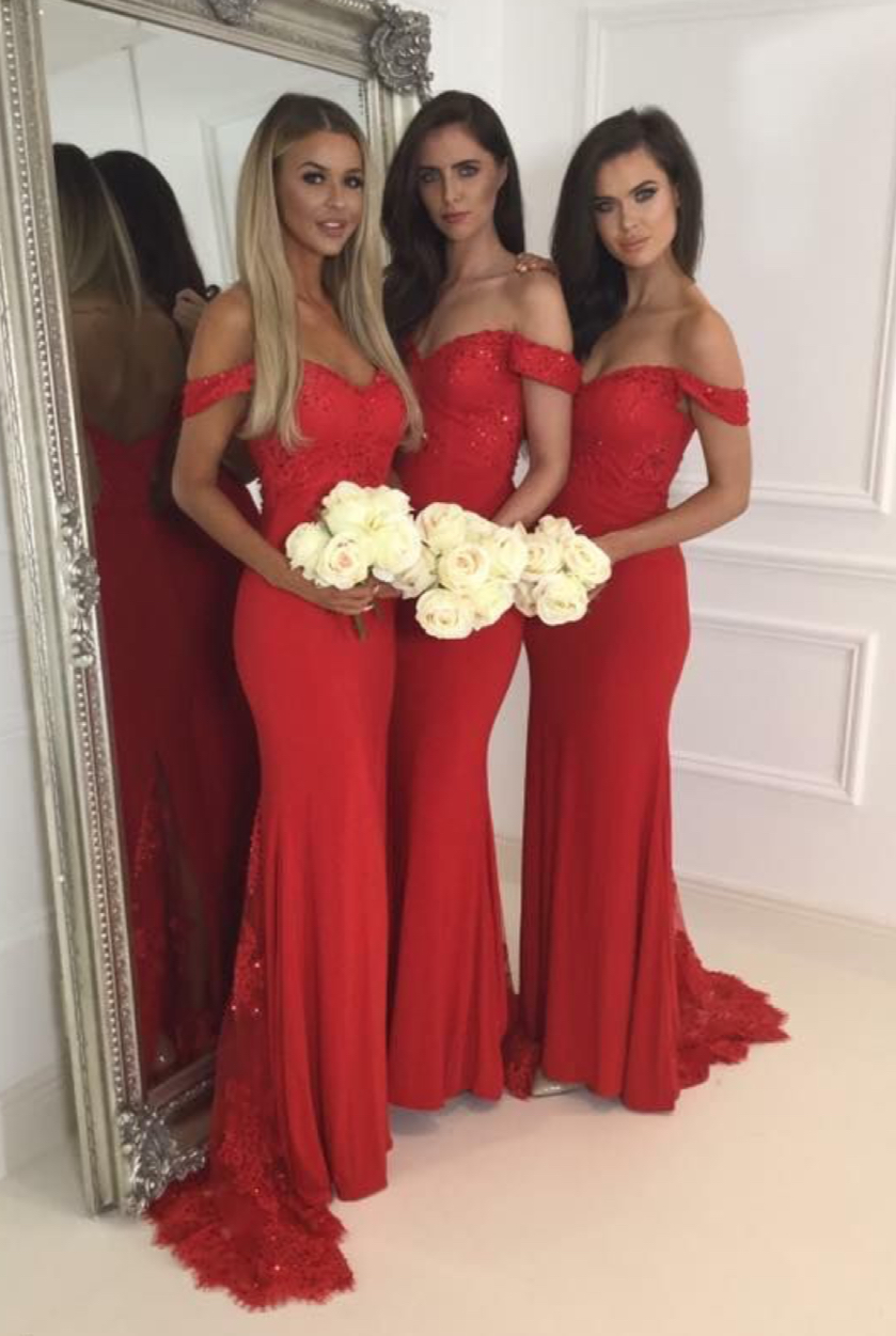 429b90925a5c Red Jersey Lace Bridesmaid Dress,Off The Shoulder Sweetheart Bridesmaid  Dresses,Cap Sleeves Mermaid