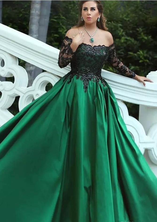 fafc067e99a Dark Green Satin Plus Size Evening Dresses Off Shoulder Long Sleeves  Sequins Lace Saudi Arabic Ball