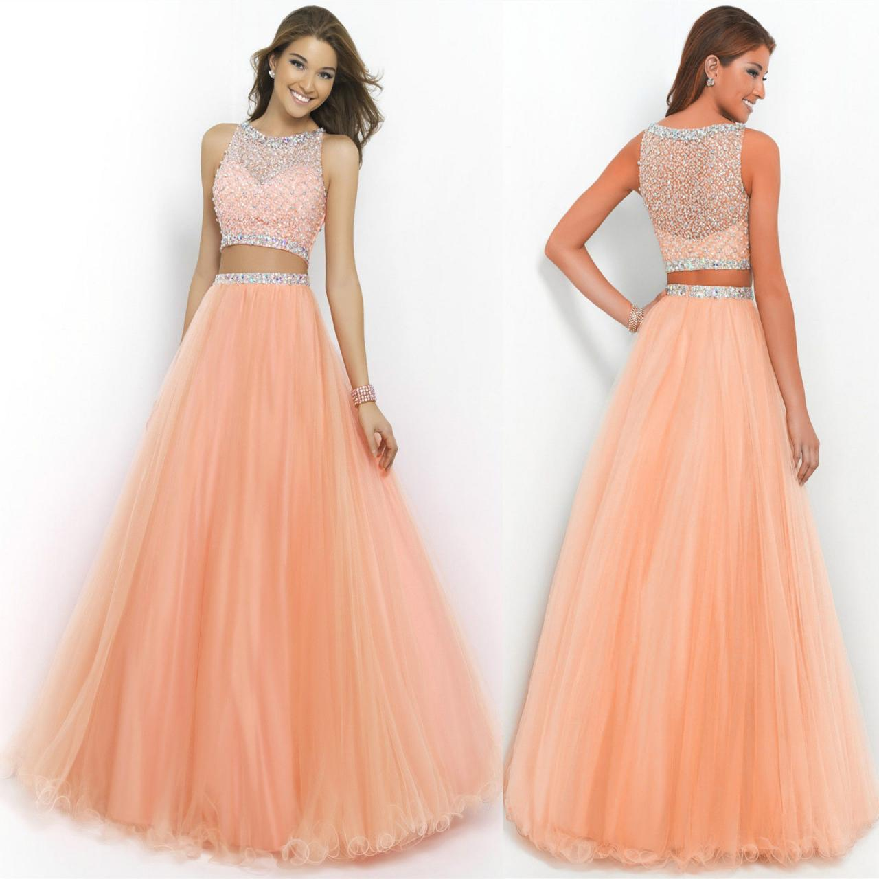 Peach Two Piece Long Prom Dresses Beaded Scoop Neck Sleeveless A-Line Floor- Length 553c4abf08c0