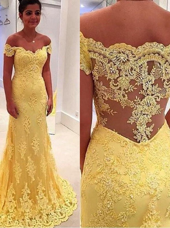 95d9df9f41a3 Elegant Mermaid Yellow Lace Off Shoulder Long Prom Dress on Luulla