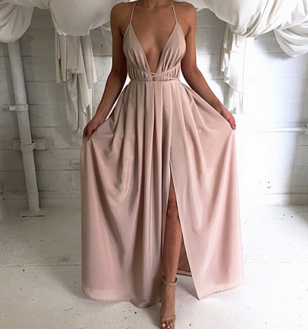 be78d3843244 Deep V neck Long Chiffon Prom Dress With Open Back Blush Pink Evening  Dresses For Women