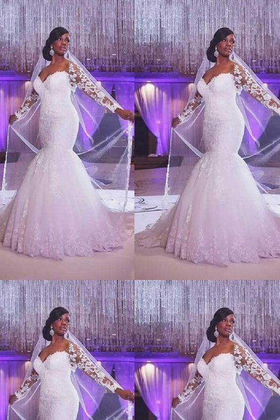 Muslim Wedding dress,Mermaid Wedding Dress Attractive Tulle & Lace Mermaid Wedding Dress With Lace Appliques