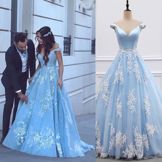 57be31dd8fd satin and tulle light blue ball gown prom dresses 2018 lace appliques  evening gowns for engagement