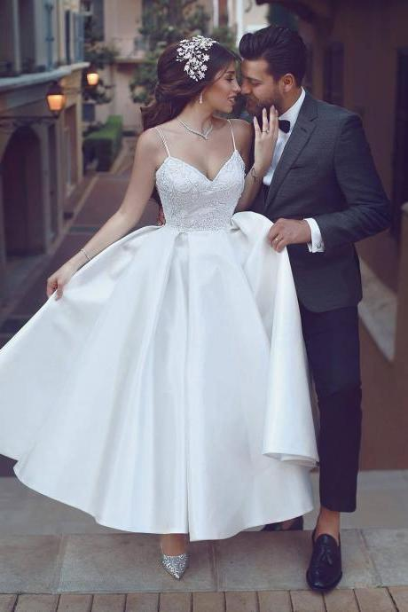 Tea length Informal Wedding Dress,Spaghetti Straps Short Bridal Dress