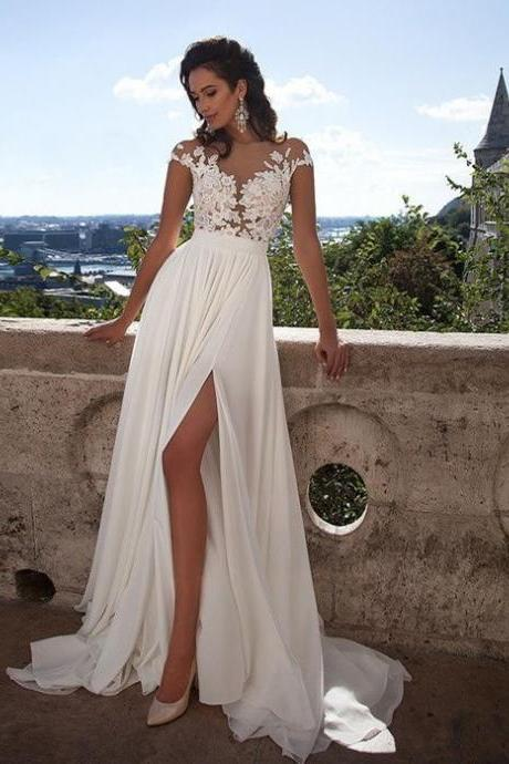Boho Wedding Dress with Side Slit