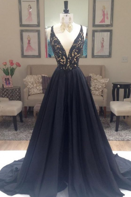 V-Neck Lace Long Charming Prom Dresses, Floor-Length Evening Dresses,Prom Dresses