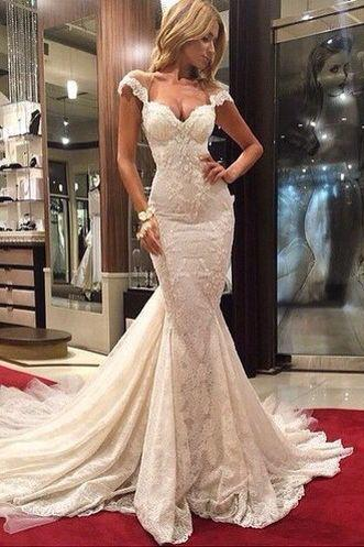 White Wedding dress,lace Wedding dress,long Wedding dresses,mermaid Bridal dress,cap sleeve Wedding dresses,evening dress,formal dress