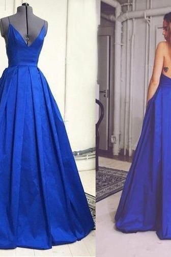 Royal Blue Plunge V Spaghetti Strap Satin Floor Length Pleated Formal Gown Featuring Criss-Cross Open Back, Prom Gown