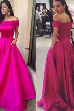 A-Line Off-the-Shoulder Sleeveless Natural Zipper Satin Prom Dresses