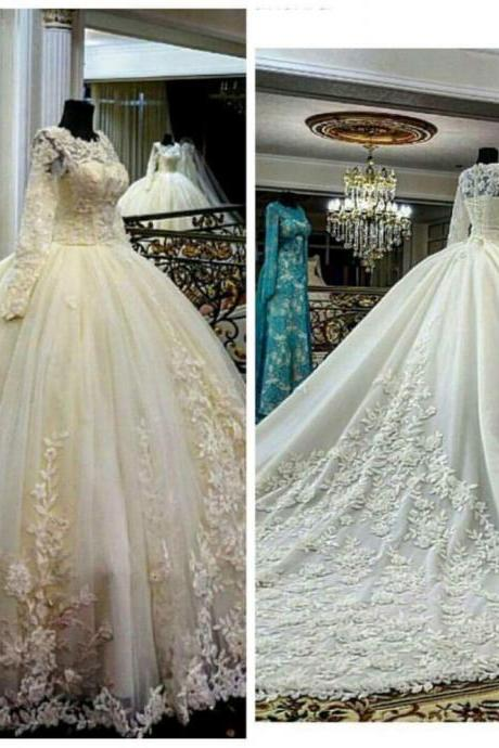 Ivory Wedding Dress, Long Sleeve Wedding Dress, 2016 Wedding Dresses, Cheap Wedding Dress, Cathedral Train Wedding Dress, Lace Wedding Dress, Real Photo Wedding Dress, Gorgeous Wedding Dress, Long Wedding Dress, Wedding Ball Gown ,custom wedding dresses