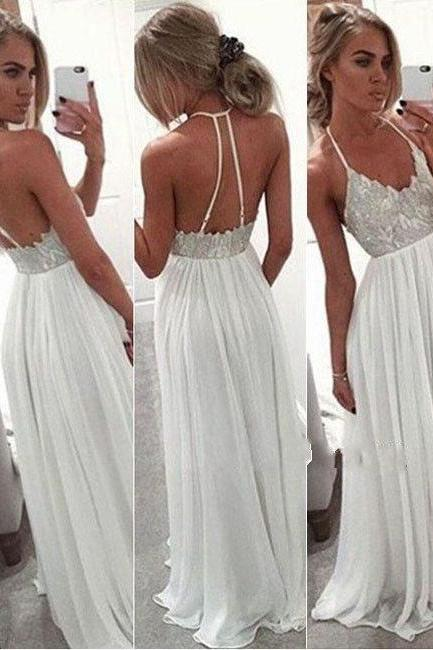 Sexy Spaghetti straps prom dresses,White Chiffon Sequin Long Prom Dress for Teens, Backless Long chiffon formal Dress 2016, Cocktail Dresses, formal dresses,Wedding guests dresses