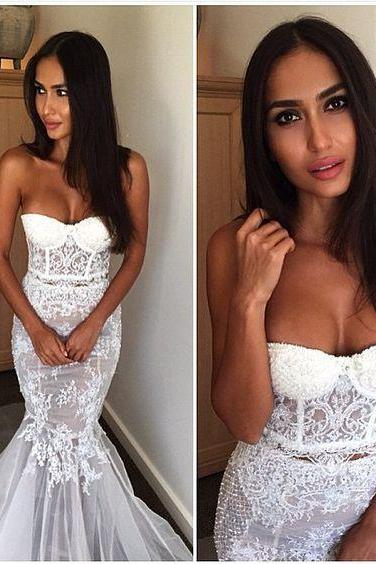 Charming Mock 2 Piece Mermaid Wedding Dress,See-through Wedding Dress,Sexy Wedding Dress,Lace Mermaid Wedding Dress,Lace Bridal Dress ,Bridal Gown 2016 ,Wedding Dress for Bride ,Wedding Dress Plus Size ,Wedding Dress Costume ,Wedding Dress for Women