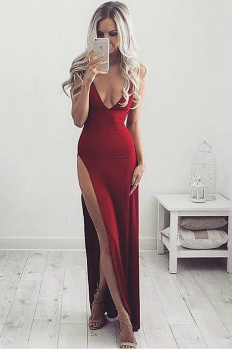 Sexy V Neck Red Long Prom Dress,Low Back High Slit Formal Gowns