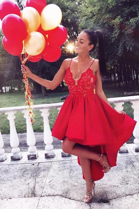 High Low Spaghetti Straps Homecoming Dresses,Red V-neck Lace Graduation Dresses