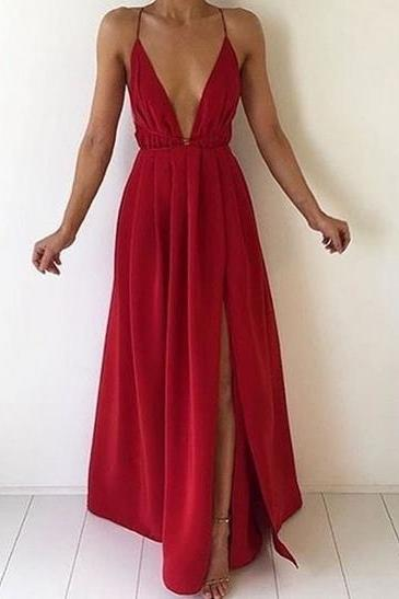 Simple red A-Line V-neck long prom dress,evening dress,Silk Chiffon Prom Dress,Slit Side Evening Dresses
