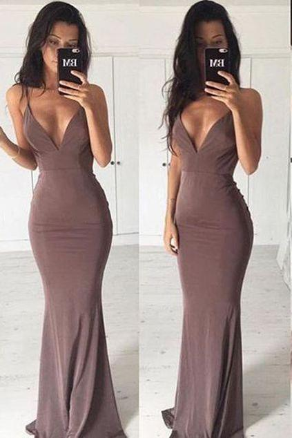 Hot Selling Sexy Deep V-Neck Backless Mermaid Long Prom/Evening Dress