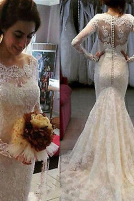 Lace Mermaid Wedding Dress, With Long Sleeve Wedding Dresses,Button Applique White Court Train Bridal Gowns