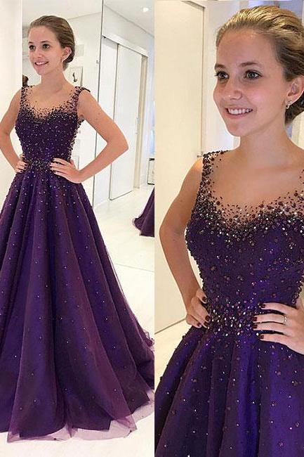 PURPLE ROUND NECK TULLE BEADS LONG PROM DRESS, PURPLE EVENING DRESS