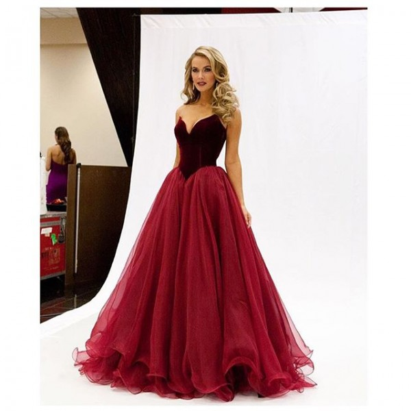 Prom Dress USA Miss Burgundy Basque Waist Velvet Bodice and Tulle Skirt Formal Dress