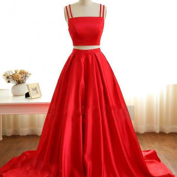 Elegant Red Two Piece Prom Dress,A-Line Spaghetti Straps Long Prom/Evening Dress
