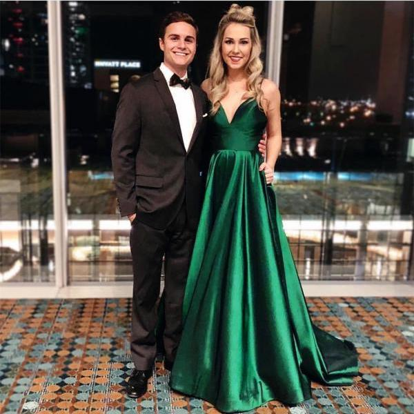 Spaghetti Straps Emerald Prom Dress,Green Evening Dress,Prom Dresses,Long Evening dresses