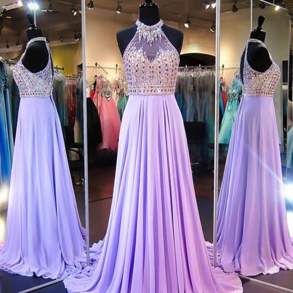 A Line Cowl Neck Sleeveless Prom Dresses,Long Pleated Beaded Lilac Prom Dress Open Back