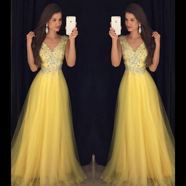 Prom Dresses,Modest Prom Dress,Deep V Neck Long Yellow Prom Dresses Cap Sleeves Evening Gowns