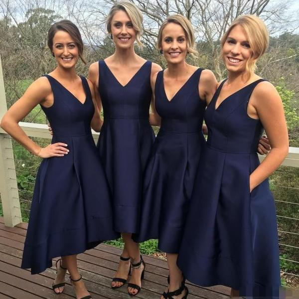Bridesmaid Dresses,Classic A-line V-neck Navy Blue HIgh Low Bridesmaid Dress, Short Bridesmaid Dress, Short Prom Dress, Navy Blue Bridesmaid Dress, Wedding Party Dress, Cheap Bridesmaid Dress