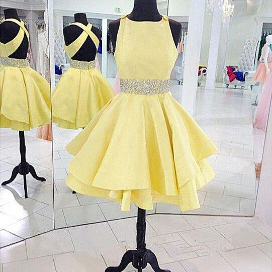 Short Homecoming Dresses, Sexy Cocktail Dresses ,Open Back Homecoming Dresses,Yellow Cocktail Dresses