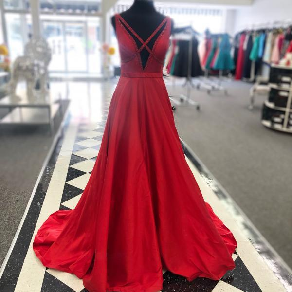 Elegant Red Long Prom Dress Graduation Dress