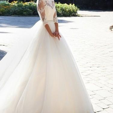 Ball Gown 3/4 Sleeves Lace Wedding Dresses Bridal Gowns 2019