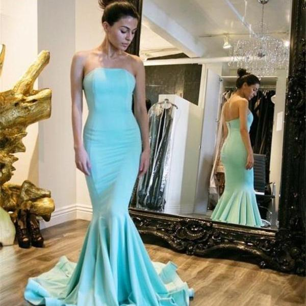 2019 Blue prom dress, Mermaid prom dress, strapless prom dress, cheap prom dress, Long prom dress, Evening dress, Prom Dress